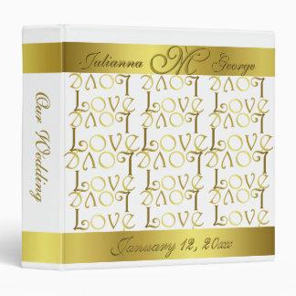 Modern Elegant Gold Foil LOVE Text Design Wedding Vinyl Binders