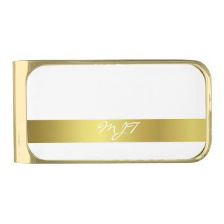 Modern Elegant Gold Foil Monogrammed Gold Finish Money Clip