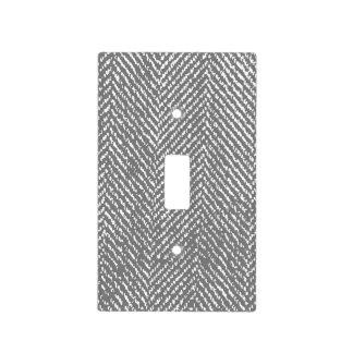 Modern Elegant Gray Herringbone Light Switch Cover
