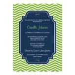 Modern Elegant Green & Blue Chevron Bridal Shower Personalized Invites