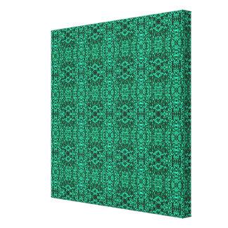 Modern Elegant Green Ethnic Pattern Stretched Canvas Print
