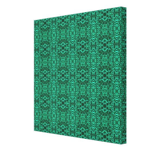 Modern Elegant Green Ethnic Pattern Stretched Canvas Print