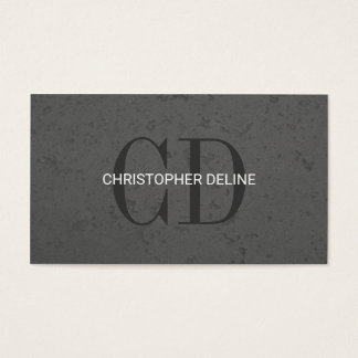 Modern Elegant Grey Stone Monogram Consultant Business Card