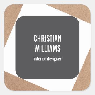 Modern Elegant Grey White Kraft Paper Name Square Sticker