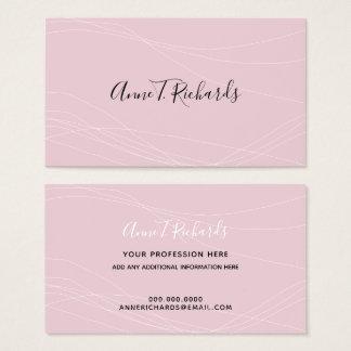 modern elegant handwritten name pale-pink business card