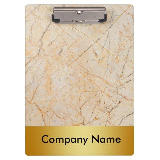 Modern Elegant Marble Gold Faux Foil Company Logo Clipboard