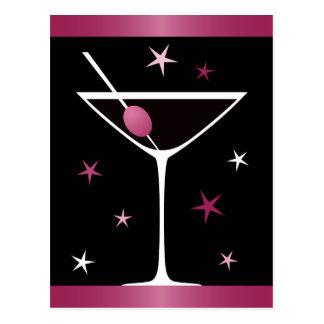 Modern elegant martini cocktail glass black pink postcard