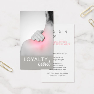 Modern Elegant Massage Therapist Photo Loyalty Business Card
