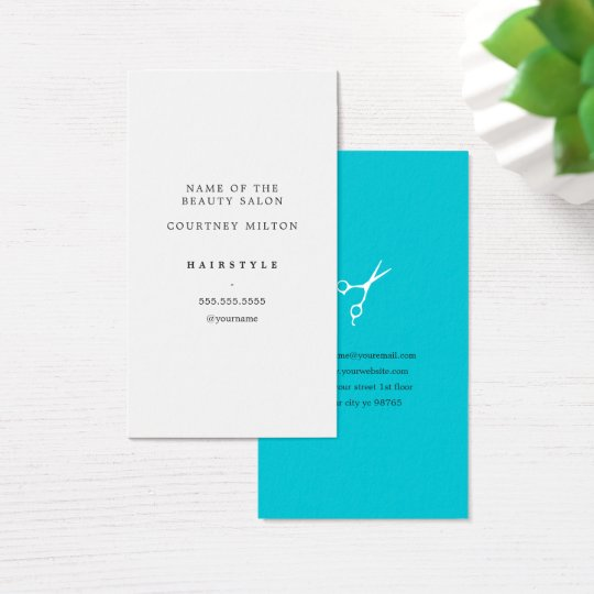 Modern Elegant Minimal White Turquoise HairStylist Business Card