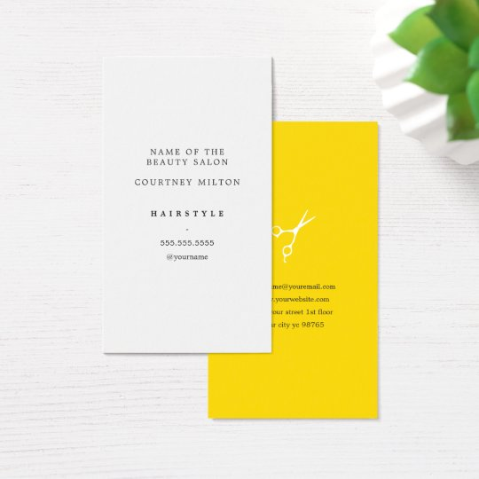 Modern Elegant Minimal White Yellow Hair Stylist Business Card