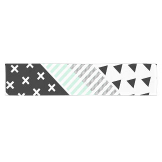 Modern Elegant Mint, Black,  & White Shapes Short Table Runner