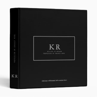 modern & elegant monogram on black binder