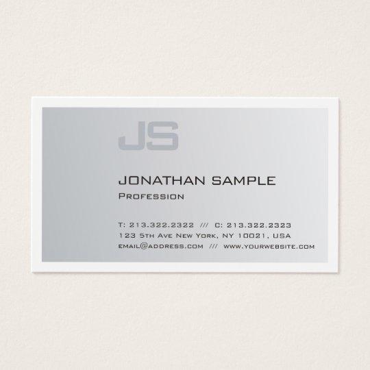 Modern Elegant Monogrammed Trendy Silver Plain Business Card