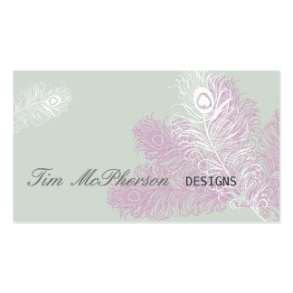 Modern Elegant Peacock Feathers Mardi Gras Pack Of Standard Business Cards
