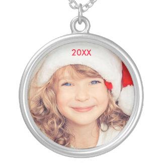 Modern Elegant Photo Christmas Year Necklace