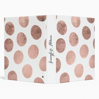 Modern elegant rose gold hand drawn big polka dots vinyl binder