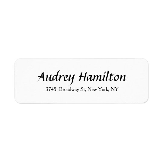 Modern Elegant Script Creative Plain Black White Return Address Label