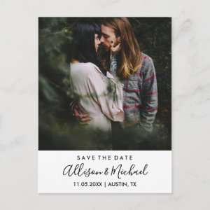 Modern Elegant Script Wedding Save The Date Photo Announcement Postcard