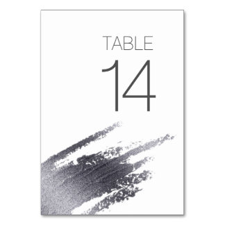 Modern Elegant Silver Paint Wedding Table Card