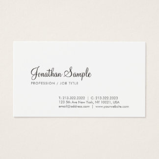 Modern Elegant Sleek Design Trendy Calligraphy Business Card
