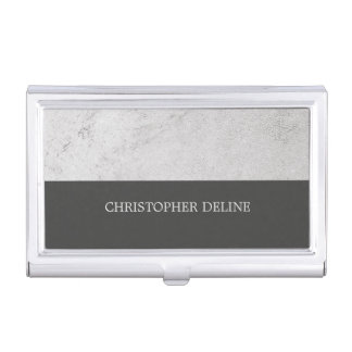 Modern Elegant Stone Grey Construction Business Card Holder