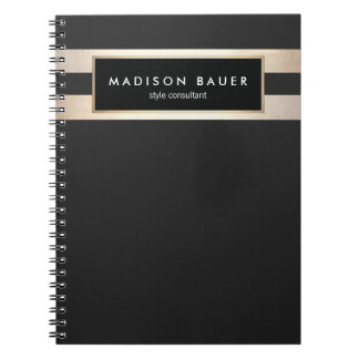 Modern Elegant Striped Black and FAUX Gold Foil Spiral Note Books