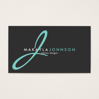 Modern & Elegant teal blue Monogram Professional Business Card