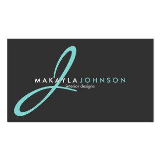 Modern & Elegant teal blue Monogram Professional Pack Of Standard Business Cards