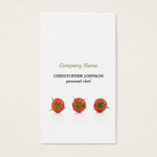 Modern Elegant Tomato Photo Personal Chef Business Card