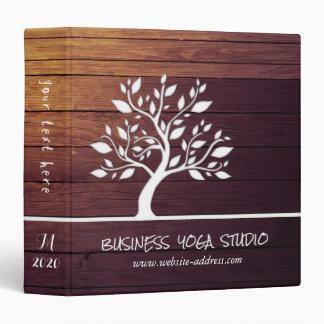 Modern Elegant Tree Vintage Wood Yoga Instructor 3 Ring Binder