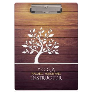 Modern Elegant Tree Vintage Wood Yoga Instructor Clipboard