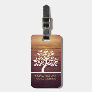 Modern Elegant Tree Vintage Wood Yoga Instructor Luggage Tag