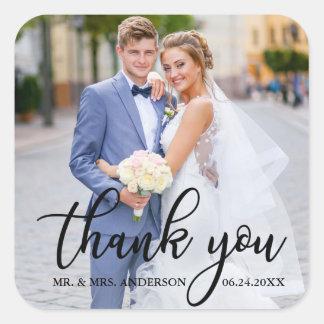 Modern Elegant Wedding Thank You Bride Groom Photo Square Sticker