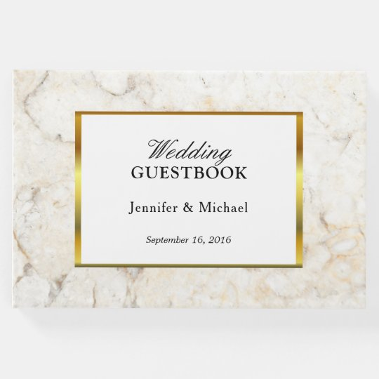 Modern elegant white and gold marble Wedding Guest Book