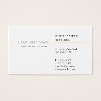 Modern Elegant White and Gold Simple Corporate Business Card