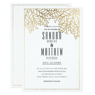 Modern elegant white faux gold floral Wedding Card