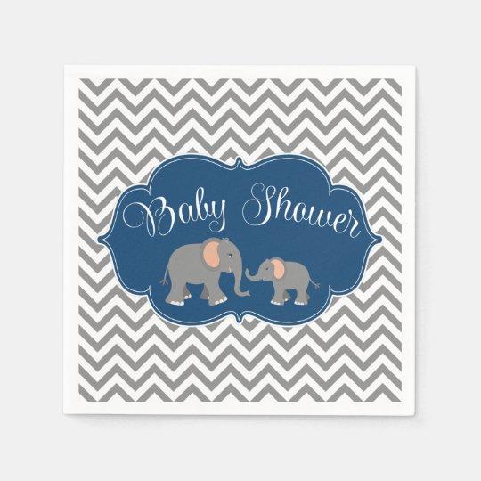 Modern Elephant Chevron Navy Blue Grey Baby Shower Napkin