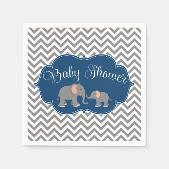 Modern Elephant Chevron Navy Blue Grey Baby Shower Paper Napkin