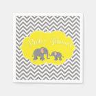 Modern Elephant Chevron Yellow Grey Baby Shower Paper Napkin