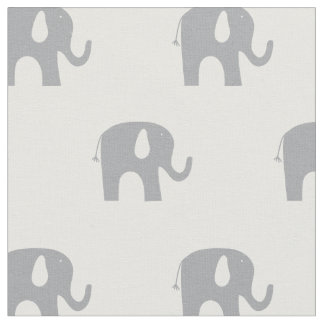 Modern Elephant Gray and White Pattern Fabric