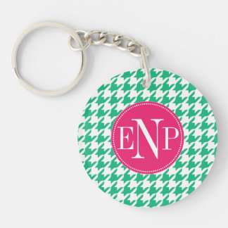 Modern Emerald Green Houndstooth Personalized Single-Sided Round Acrylic Keychain