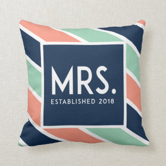 Modern Engaged Mrs. Pillow // Salmon, Blue, Teal
