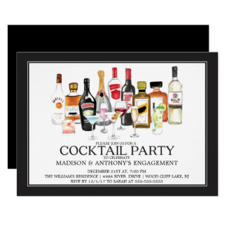 Modern Engagement Cocktail  Party Invitation