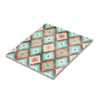 Modern Ethnic Kilim Mosaic Pattern Watercolor Tile