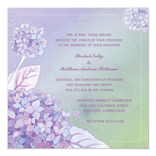 Modern Evening Purple Hydrangea Floral Wedding