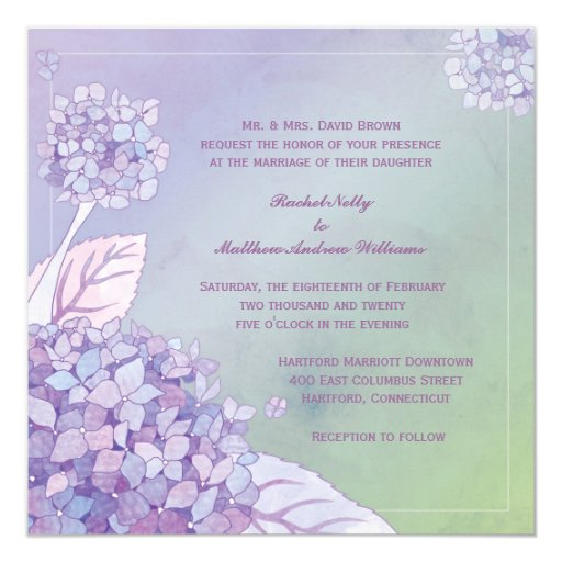 "Modern Evening Purple Hydrangea Floral Wedding 5.25"" Square Invitation Card"