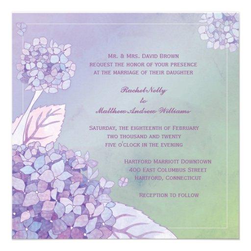Modern Evening Purple Hydrangea Floral Wedding Announcement