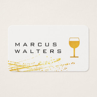 Modern Expressive with Wine Glass Icon Business Card