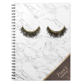 Modern Eyelash Trendy White Marble Copper Corner Notebooks
