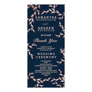 Modern fall rose gold branch navy wedding program